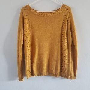 Lulu's Pointelle Me More mustard yellow sweater S